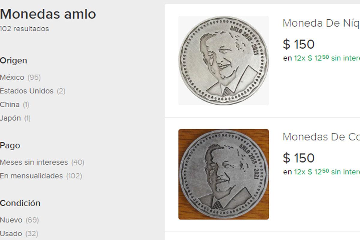 Ponen a la venta monedas de AMLO y la 4T en internet; circulan en redes
